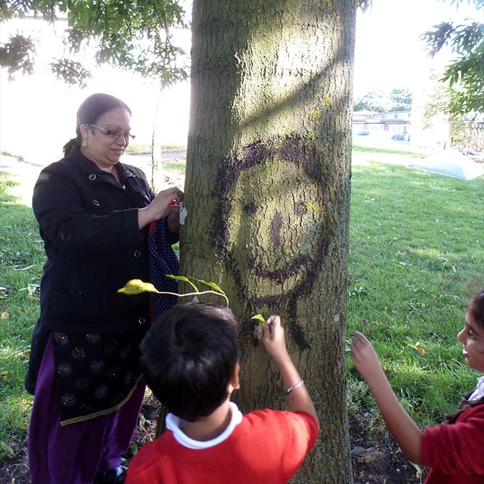 Forest School Training - children painting tree faces